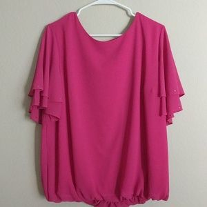Roz and Ali pink bubble hem casual top